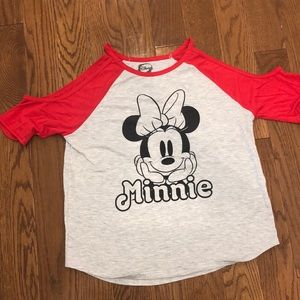 Minnie cold shoulder fitted shirt size L Disney